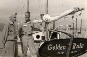 Albert Bigelow, right, captained the Golden Rule on her mission to disrupt atmospheric nuclear testing in the Marshall Islands. (Photo credit: Albert Bigelow Papers, Swarthmore College Peace Collection)