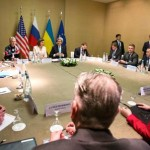 Secretary of State John Kerry attending a four-way diplomatic conference in Geneva, involving the U.S., Russia, Ukraine and the European Union. (State Department photo)