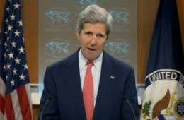 "Secretary of State John Kerry denounces Russia's RT network as a ""propaganda bullhorn"" during remarks on April 24, 2014."