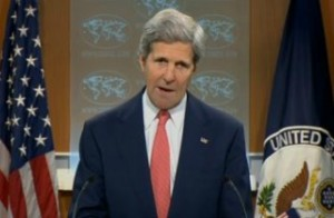 """Secretary of State John Kerry denounces Russia's RT network as a """"propaganda bullhorn"""" during remarks on April 24, 2014."""