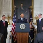 President Barack Obama announces the nomination Tom Wheeler, right, as Chairman of the Federal Communications Commission, on May 1, 2013. (Official White House Photo by Lawrence Jackson)