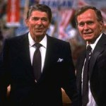 Ronald Reagan and his 1980 vice-presidential running mate George H.W.  Bush.