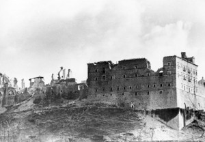 The ruins of the Monte Cassino Abbey as they looked in February 1944 after the Allied bombing attack. (Photo by Wittke from the German Federal Archives)