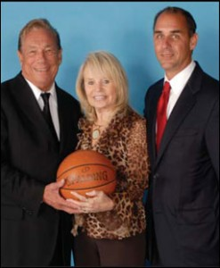 Left to right, Los Angeles Clippers owner Donald T. Sterling, his wife Shelly Sterling and Clippers' President Andy Roeser. (NBA photo that has been removed from the NBA site.)
