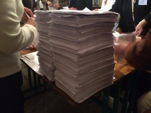 "A pile of ""yes"" votes at a Donetsk polling place favoring secession in the referendum on May 11, 2014."