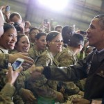 President Barack Obama shakes hands with U.S. troops at Bagram Airfield in Bagram, Afghanistan,