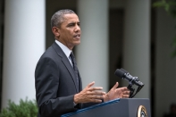 President Barack Obama announces on May 27, 2014, plans for ending U.S. combat operations in Afghanistan by the end of 2014 and withdrawing all U.S. forces by 2016. (White House photo)
