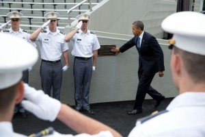President Barack Obama touches the Marshall Plaque at Michie Stadium upon arrival for the United States Military Academy at West Point commencement in West Point, N.Y., May 28, 2014. (Official White House Photo by Pete Souza)