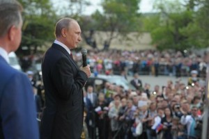 Russian President Vladimir Putin addresses a crowd on May 9, 2014, celebrating the 69th anniversary of victory over Nazi Germany and the 70th anniversary of the liberation of the Crimean port city of  Sevastopol from the Nazis. (Russian government photo)