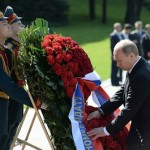 Russian President Vladimir Putin laying a wreath at Russia's Tomb of the Unknown Soldier on May 8, 2014, as part of the observance of the World War II Victory over Germany.