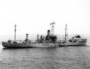 USS Liberty (AGTR-5) receives assistance from units of the Sixth Fleet, after she was attacked and seriously damaged by Israeli forces off the Sinai Peninsula on June 8, 1967.  (US Navy photo)