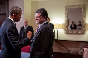 President Barack Obama and President Petro Poroshenko of Ukraine talk after statements to the press following their bilateral meeting at the Warsaw Marriott Hotel in Warsaw, Poland, June 4, 2014. (Official White House Photo by Pete Souza)