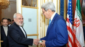 U.S. Secretary of State John Kerry shakes hands with Iranian Foreign Minister Mohammad Javad Zarif as he arrives at a hotel in Vienna, Austria, on July 14, 2014, for a second day of meetings about the future of his country's nuclear program. [State Department photo]