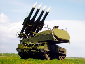 Russian-made Buk anti-aircraft missile battery.