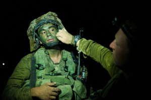 An Israeli soldier prepares for a night attack inside Gaza as part of Operation Protective Edge. (Israel Defense Forces photo)