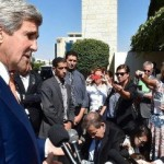 Secretary of State John Kerry addresses reporters on July 23, 2014, in Ramallah, West Bank. (U.S. government photo)