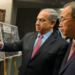 Israeli Prime Minister Benjamin Netanyahu presses his case for the military offensive against Gaza in a meeting with UN Secretary General Ban Ki-moon. (Israeli government photo)