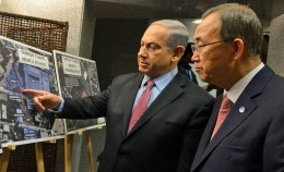 Israeli Prime Minister Benjamin Netanyahu pressed his case for the military offensive against Gaza in a meeting with UN Secretary General Ban Ki-moon in 2014. (Israeli government photo)