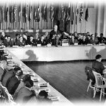 U.S. Treasury Secretary Henry Morgenthau, Jr., addresses the delegates to the Bretton Woods Conference, July 8, 1944. (Photo credit: World Bank)