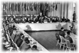 U.S. Treasury Secretary Henry Morgenthau, Jr., addresses the delegates to the Bretton Woods Conference, July 8, 1944. (Photo credit: World Bank)