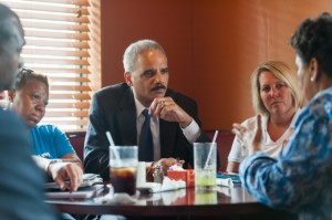 Attorney General Eric Holder meets with local residents and community leaders of Ferguson, Missouri at Drake's Place Restaurant. (by Lonnie Taque, U.S. Department of Justice)