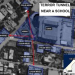"Israel justified its bombardment of civilian targets in Gaza by claiming that Hamas militants operated near schools, mosques and other civilian structures, as cited in this Israeli graphic supposedly showing a ""terror tunnel"" running near a school. (Israeli government photo)"