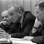 Dean Rusk, Lyndon B. Johnson and Robert McNamara in Cabinet Room meeting February 1968. (Photo credit: Yoichi R. Okamoto, White House Press Office)