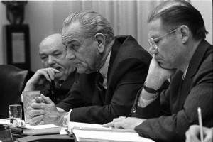 Dean Rusk, Lyndon B. Johnson and Robert McNamara in Cabinet Room meeting February 1968., From ImagesAttr