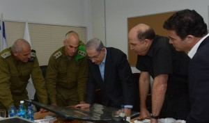 Israeli Prime Minister Benjamin Netanyahu meeting with his generals to discuss the offensive in Gaza. (Israeli government photo)