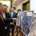 Israeli Prime Minister Benjamin Netanyahu shows off photos that he claims justified the bombardment of Gaza. (Israeli government photo)