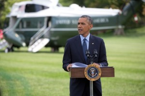 President Barack Obama delivers a statement on the situation in Ukraine, on the South Lawn of the White House, July 29, 2014. (Official White House Photo by Lawrence Jackson)
