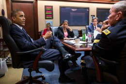President Barack Obama meets with his national security advisors in the Situation Room of the White House, Aug. 7, 2014. (Official White House Photo by Pete Souza)