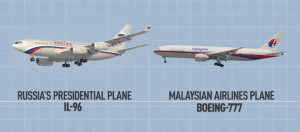 A side-by-side comparison of the Russian presidential jetliner and the Malaysia Airlines plane.