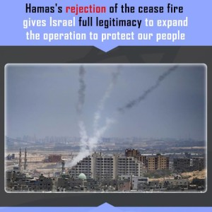 The Israeli government has cited rocket fire from Gaza as justification for its bombardment and assault on the narrow strip of land holding some 1.8 million Palestinians. (Graphic from Prime Minister Benjamin Netanyahu's Facebook page)