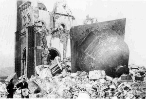 The ruins of the Urakami Christian church in Nagasaki, Japan, as shown in a photograph dated Jan. 7, 1946.