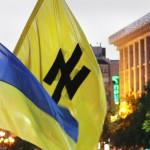 The neo-Nazi Wolfsangel symbol on a banner in Ukraine.
