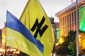 The neo-Nazi Wolfsangel symbol on a banner in Ukraine.