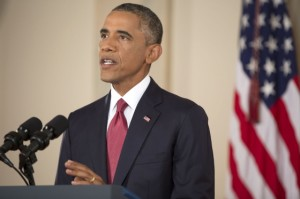 """President Barack Obama delivering his weekly address on Sept. 13, 2014, vowing to """"degrade and defeat"""" the Islamic State of Iraq and Syria. (White House photo)"""