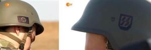 Nazi symbols on helmets worn by members of Ukraine's Azov battalion. (As filmed by