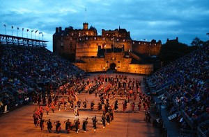 "Edinburgh Castle during a Black Watch ""Tattoo"" ceremony. (Photo credit: Don North)"