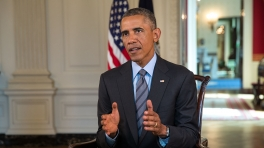 President Barack Obama in his weekly address on Sept. 13, 2014, vowing to degrade and ultimately defeat the Islamic State of Iraq and Syria. (White House Photo)