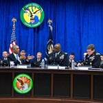 President Barack Obama receives a briefing from Gen. Lloyd J. Austin III, Commander, U.S. Central Command, and his top commanders at U.S. Central Command at MacDill Air Force Base in Tampa, Florida, Sept. 17, 2014. (Official White House Photo by Pete Souza)