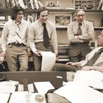 The Washington Post's Watergate team, including from left to right, publisher Katharine Graham,  Carl Bernstein, Bob Woodward, Howard Simons, and executive editor Ben Bradlee.