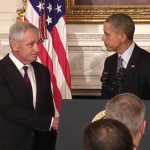 Defense Secretary Chuck Hagel shakes hands with President Barack Obama at the White House on Nov. 24, 2014, as the President announces that Hagel is resigning. (U.S..government photo)