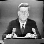 President John F. Kennedy addressing the nation regarding the October 1962 Cuban Missile Crisis.