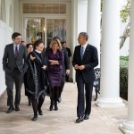 President Barack Obama walks with Senior Advisors on the Colonnade of the White House, Nov. 5, 2014. (Official White House Photo by Pete Souza)