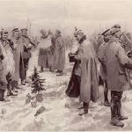 British and German soldiers exchanging headgear during the Christmas Truce of 1914. (From The Illustrated London News of Jan. 9, 1915)