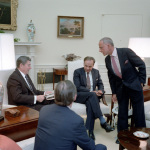 President Reagan meets with publisher Rupert Murdoch, U.S. Information Agency Director Charles Wick, lawyers Roy Cohn and Thomas Bolan in the Oval Office on Jan. 18, 1983. (Photo credit: Reagan presidential library)