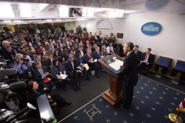 President Barack Obama holds a press conference in the James S. Brady Press Briefing Room of the White House. Dec. 19, 2014. (Official White House Photo by Chuck Kennedy)