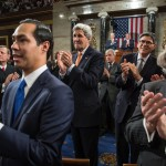 Housing and Urban Development Secretary Julian Castro, Secretary of State John Kerry, Treasury Secretary Jack Lew, and Energy Secretary Earnest Moniz applaud as President Barack Obama enters the House Chamber prior to delivering the State of the Union address in the Capitol in Washington, D.C., Jan. 20, 2015. (Official White House Photo by Pete Souza)